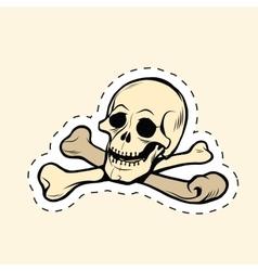 Skull and bones Jolly Roger label sticker vector image