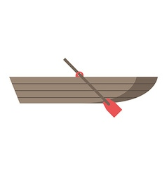 Wooden boat with oar vector image vector image