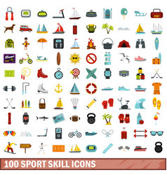 100 sport skill icons set flat style vector image