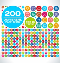 200 Universal Plain Icon Set vector image