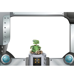 A robot and the metallic frame vector image