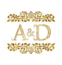 AD vintage initials logo symbol vector