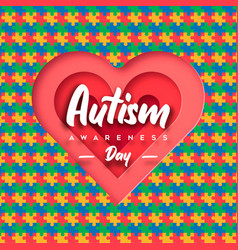 Autism awareness day paper cut puzzle heart card vector