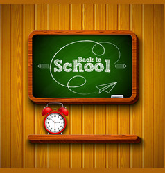 Back to school design with alarm clock chalkboard vector
