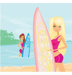 beautiful girls with surfboards at a beach vector image