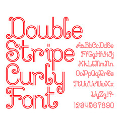 Beautiful red double stripe curly font vector