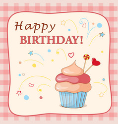 birthday card with cake hearts and text vector image