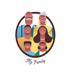 black family people character photo frame isolated vector image