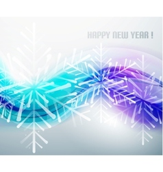 Blue business wave and Christmas snowflakes vector image