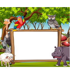 board template with wild animals in the woods vector image