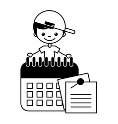 boy with calendar and notes paper vector image
