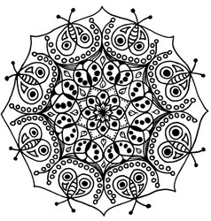 Bugs zen mandala black and white isolated vector