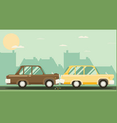 car crash two cars hit flat design vector image