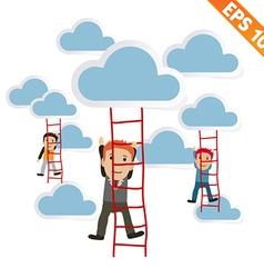 Cartoon Businessman climbing ladder - - EPS1 vector