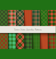 christmas tartan seamless patterns in grin and vector image