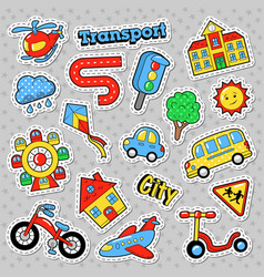 City transport with bicycle car and bus vector