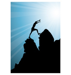 climbing on top of mountain vector image vector image