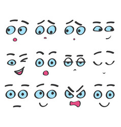 Color line emoji cartoon faces set funny vector