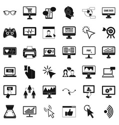 Computer arrow icons set simple style vector