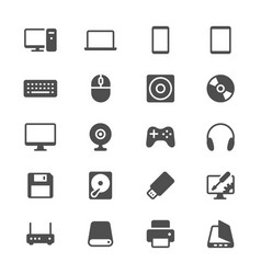 computer glyph icons vector image