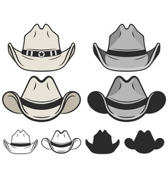 cowboy hat flat color and line old cowboy hat vector image