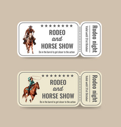 Cowboy ticket design with american rodeo vector