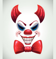 Creepy clown mask angry joker face vector