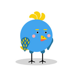 cute cartoon blue bird character in geometric vector image