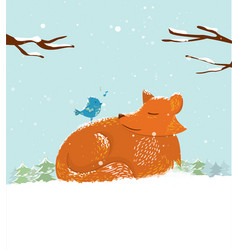 cute cartoon fox in snow with bird vector image