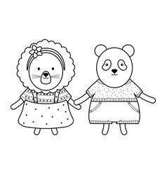 Cute female lioness with bear panda vector