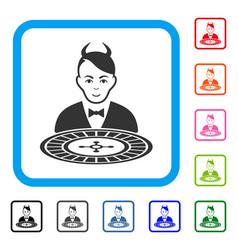 Devil roulette dealer framed joy icon vector