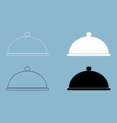 Dish the black and white color icon vector
