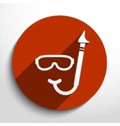 Diving mask and tube web flat icon vector