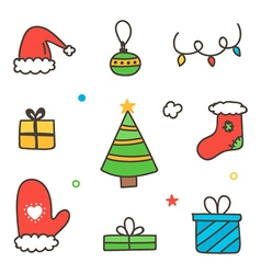 Doodle hand drawn colorful winter christmas set vector