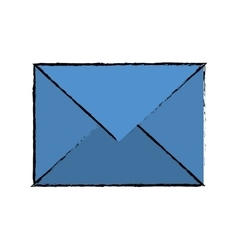 Drawing blue email envelope received social media vector