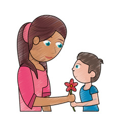 Drawing boy giving flower mother celebration vector