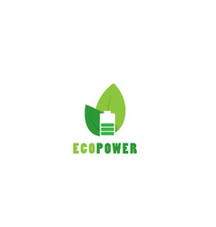 eco power battery logo template nature vector image