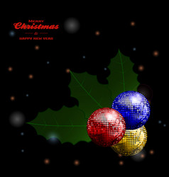 festive holly disco balls and text on glowing vector image