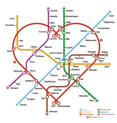 Fictional metro map in shape of heart vector image