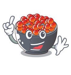 Finger salmon roe with isolated on mascot vector