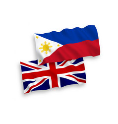 Flags great britain and philippines on a white vector