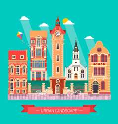Flat design urban landscape and city life building vector