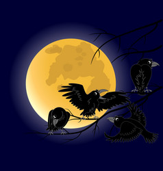 full moon a crow sitting on a dead black branches vector image