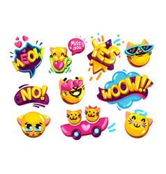 funny emoji set cats vector image