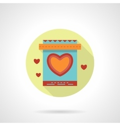 Gift bag with heart icon flat round style vector image