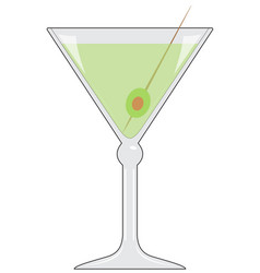 glass with drink and olive vector image