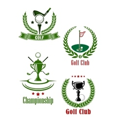 Golf club and championship emblems vector image