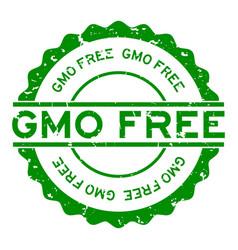 Grunge green gmo free word round rubber seal vector