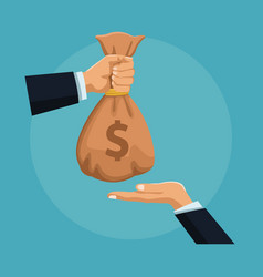 hand passing money bag to other hand vector image