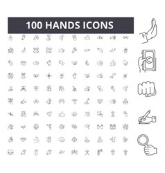 Hands line icons signs set outline vector